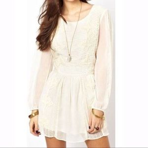 Free People Ivory Sheer Lace Leigh Mini Dress